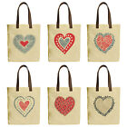 Vietsbay Valentine Day Love & Hearts Canvas Tote Bags & Leather Handles WAS 30