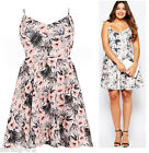 PRASLIN SIMPLY BE PLUS SIZE PINK GREY TROPICAL HIBISCUS STRAPPY DRESS SIZE 16-24