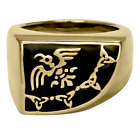Large Bronze Raven Signet Ring - Odin Banner Norse Viking God Asatru Jewelry
