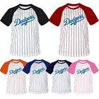 LA Dodgers Stripe Baseball Raglan Dry fit Crewneck Tshirts tee Jersey shirt Top