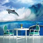 PHOTO WALL MURAL WALLPAPER WALLCOVERING HOME DECOR DOLPHINS SURFING WAVE 188VE