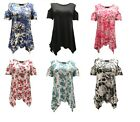 Plus size 12-26 Ladies womans tie dye cold shoulder hanky hem bardot summer top