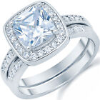 Sterling Silver Cushion Cut Clear CZ Engagement Wedding 2 in 1 Ring Size 3-11