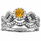 10K White Gold Natural Citrine Engagement Halo Ring Round 5mm Diamond 2-piece
