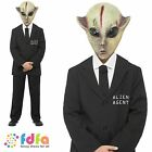 HALLOWEEN HORROR SPOOKY ALIEN AGENT - age 7-13+ - kids boys fancy dress costume