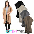 WOMENS SLEEVELESS WATERFALL JACKET DRAPED WOMEN'S GILET OVERSIZED OVER COAT