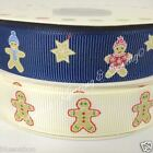 PER metre Grosgrain gingerbread man Christmas ribbon blue / ivory 19mm wide