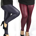 New Womens Plus Size High Waist Stretch Jeggings Faux Leather Leggings Pants Hot