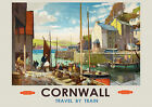Cornwall travel by train, railway  Poster reproduction