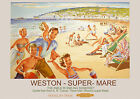 Weston -Super- Mare,  Railway Travel Poster reproduction