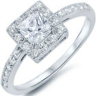 Sterling Silver Princess Cut Clear CZ Engagement Wedding Promise Ring Size 3-11