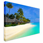 Tropical Beach with Palm Trees Canvas wall Art prints high quality great value