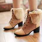 Ladies Lace Up Chunky Heel Ankle Boots Warm Hot Punk Fur Trim Shoes Free P&P NEW