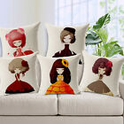 "Flower Girl Cucoloris 18""x45cm Decor Cotton Linen Cushion cover Pillowcase"