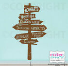 Harry Potter Road Sign Vinyl Wall Decal Diagon Alley Hogwarts Hogsmeade Burrow