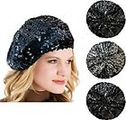 Ladies  French Style Sequin Beret Beanie Cap Hat  Soft Warm Inner Lining