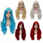 80Cm Long Women Wave Curly Cosplay Anime Party Heat Hair Red/Blue Full Wigs