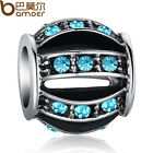 Blue Crystal Hollow Lantern Charms Fit 925 European Bracelet/Neckla​ce Chain