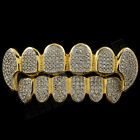 18K Gold Plated CZ Vampire Dracula Fangs Top Bottom Rhodium GRILLZ Teeth Grills