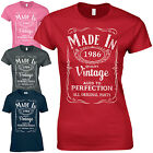 Made in 1986 Ladies Fitted T-Shirt - Born 30th Year Birthday Present Funny Gift