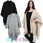 Womens Plain Chunky Knit Wrap Shawl Ladies Knitted Tassle Open Poncho Cape