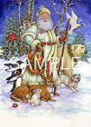 Fabric Art Quilt Block *Christmas *  Santa Claus  15-232 FREE SHIPPING