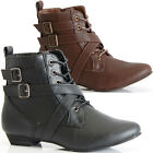 Ladies Womens Flat Low Heel Pixie Vintage Style Winter Lace up Ankle Boots Size
