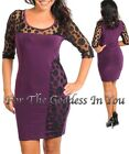 D77 PURPLE & BLACK POLKA DOT LACE BODYCON DRESS WOMENS SIZE S M L