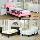 Modern Pretty Pink Black White Faux Leather Upholstered Twin or Full Wooden Bed