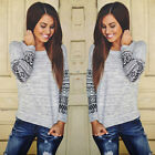 New Women Long Sleeve Shirt Casual Lace Blouse Loose Cotton Tops T-Shirt Autumn