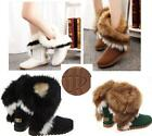 Fashion Women Leather Warm Winter Fur Furry Snow Boots Flat Heels shoes 5 -10