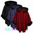 Womens Check Hooded Cape Ladies Faux Fur Hood Jersey Cape Overall Coat Jacket