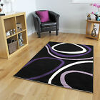 Small Large Low Cost Modern Rug Easy Clean Swirl Black & Purple Rugs Cheap Mats