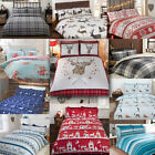 100% Brushed Cotton Flannelette Reversible Duvet Quilt Cover Bedding image