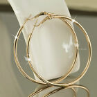 18K GOLD GF HOOP EARRINGS Round Extra Large Solid WOMENS 70MM XL