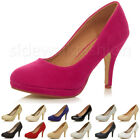 WOMENS LADIES HIGH MID HEEL PLATFORM WORK EVENING PARTY PUMPS COURT SHOES SIZE