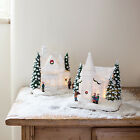 Battery Operated LED Light Up House Or Chapel White Christmas Village Scene