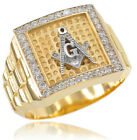 New Gold Watchband Design Men's Masonic CZ Ring