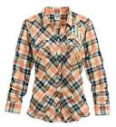 Harley-Davidson® Women's Wing Plaid Long Sleeve Woven Shirt Orange 96099-14VW
