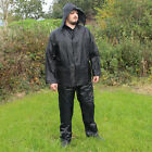 Jacket and Trousers Waterproofs Set Black - Camping Hiking Survival Hooded New