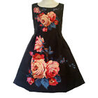 D14 - 2XL 3XL Plus Size Floral Printed Frocks Skater Cocktail Dress Black