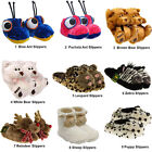 Ladies Womens Novelty Faux Fur Fluffy Winter Warm Animal Slippers House Shoes
