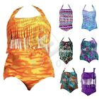 Retro Printed Plus Size Tassel Bikini Set Padded Bra Swimwear Beachsuit CABK60