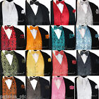 NEW Men's PAISLEY Design Dress Vest and Bow Tie & Hankie Set For Suit or Tuxedo
