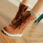 Ladies Girls Chic MId Calf Snow Winter Ankle Boot faux Suede Lace up Punk 2-8.5