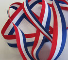 RED WHITE AND BLUE PATRIOTIC RIBBON 15 or 25mm VARIOUS LENGTHS