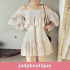 JB womens natural fits off shoulder tunic ruffle dress