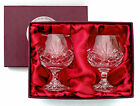 PAIR BRANDY GLASSES PRESENTATION BOX 24% Lead Crystal Cut Glass New PLAQUE OFFER
