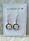 Fried Egg Frying Pan Fry Up English Breakfast EARRINGS or NECKLACE or SET * XMAS