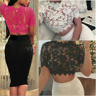Women Sexy Lace Floral Hollow Out Short Sleeve Crop Tops Short T-Shirt Blouse